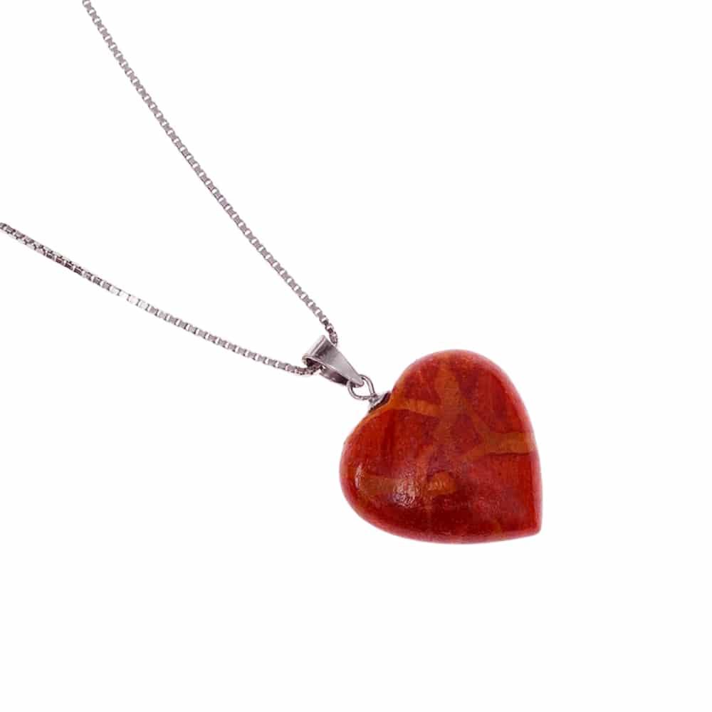 HONG BOCK-Anhänger mit schaumkorallen Herz mit Silber kette in 42cm lang-2733