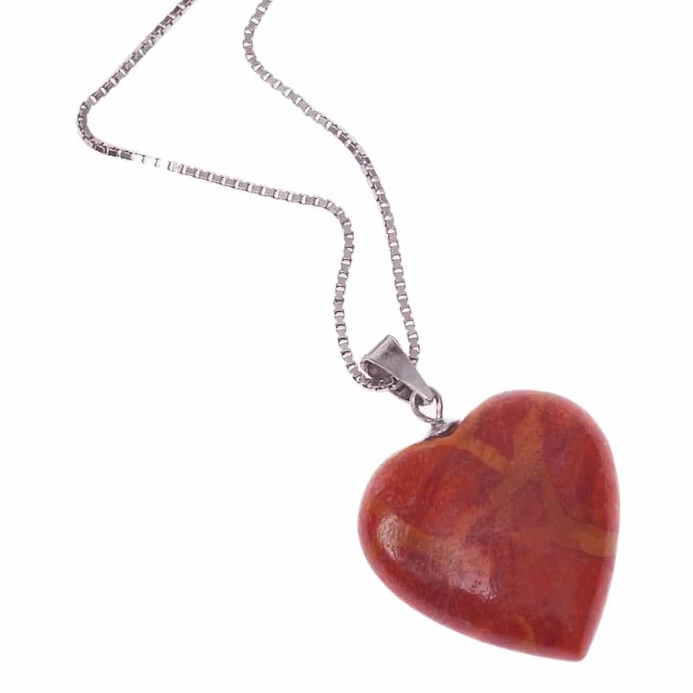 HONG BOCK-Anhänger mit schaumkorallen Herz mit Silber kette in 42cm lang-0