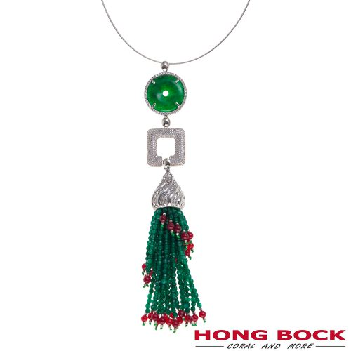 HONG BOCK-Anhänger in Silber and China grüne Jade Donat-0