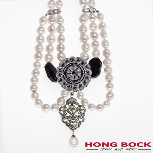 HONG BOCK-Design Kette aus Süsswasser Barockperlen und Silber Element-0