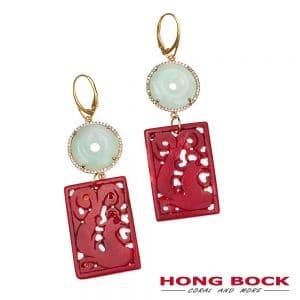 HONG BOCK-Design Ohrringe-rote handgeschnitzt koralle mit helle grüne Jade in Silbervergold-0