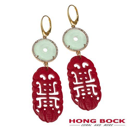 HONG BOCK-Design Ohrringe-rote korallen und hell grüne jade in Silbervergold-0