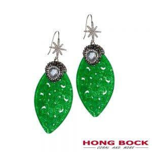 HONG BOCK-Design Ohrringer in Jade und weiße Perlen in Silber-0
