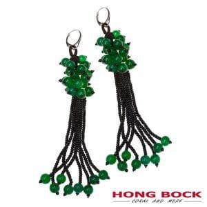 HONG BOCK-Design Ohrringe in grüne Jade und schwarze Onyx in 90mm lang-0