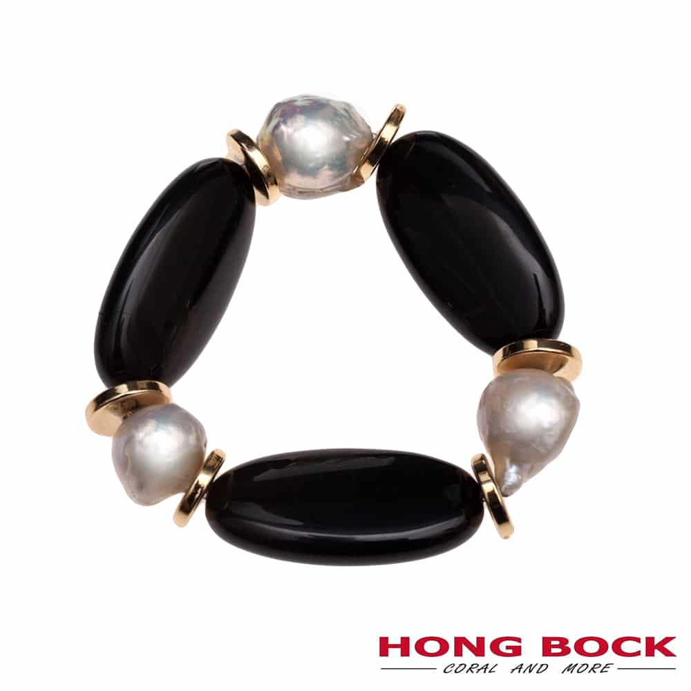 HONG BOCK-Desihn Kette und Armband-Ohrringe aus Schwarze Onyx und Süsswasser Barock Perlen in Set-2712