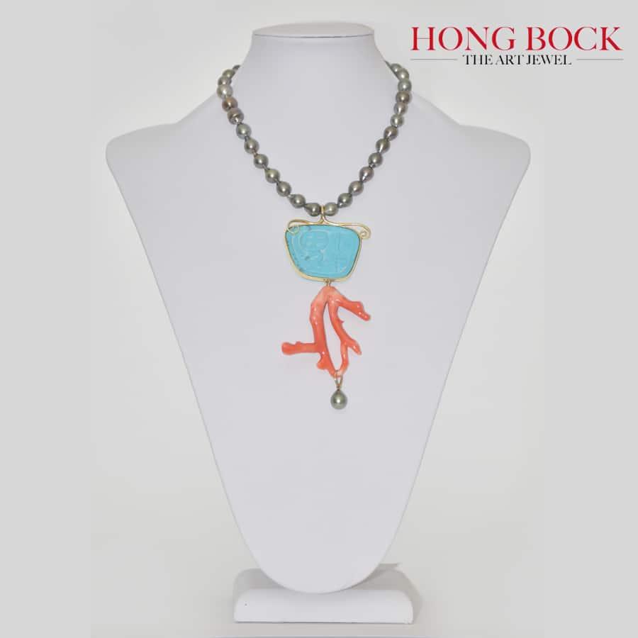 HONG BOCK-Design Kette aus Magensit Türkis und Natur Korallenast verarbeitet ,in 18K GG-2761