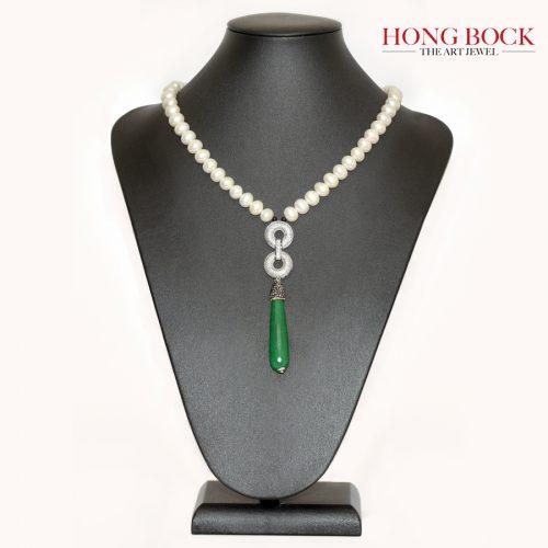 HONG BOCK-Design Kette aus Süsswasser Perle und grüne Jade-0