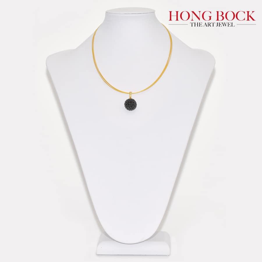 HONG BOCK Design-black Onyx-Ball-Pendant Clips, 18mm, with stainless steel, neckholder