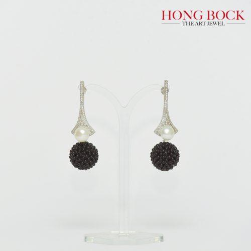 HONG BOCK-Design -Onyx-Ohrringe aus handgefertigten 18mm mit silber-0