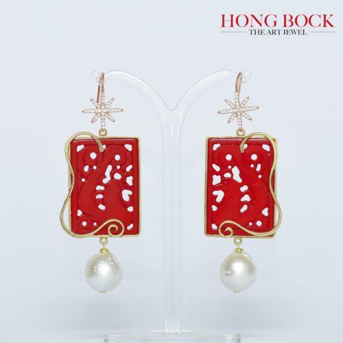 HONG BOCK-Design Ohrringe aus handgeschnitzt Korallen mit reich vergoldet Kunshandwerk-0